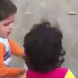VIDEO: Quake-hit boy in #Iran insists on feeding his friend
