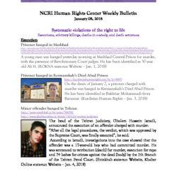 NCRI Human Rights Center Weekly Bulletin  January 08, 2018