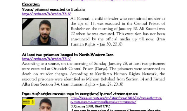NCRI Human Rights Center Weekly Bulletin February 05, 2018