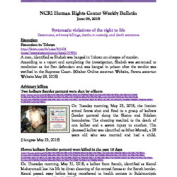 NCRI Human Rights Center Weekly Bulletin June 04, 2018